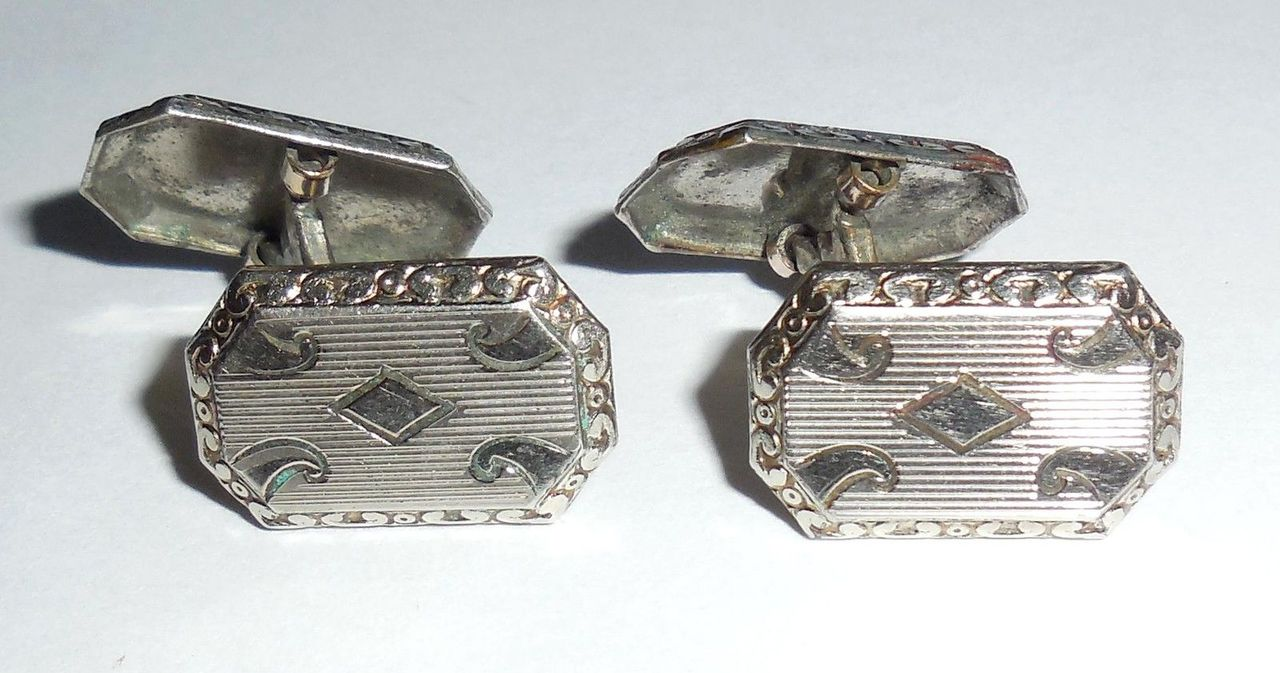 Antique Art Deco Rhodium Plated Mens Cufflinks Swivel Tops No Mono Fancy