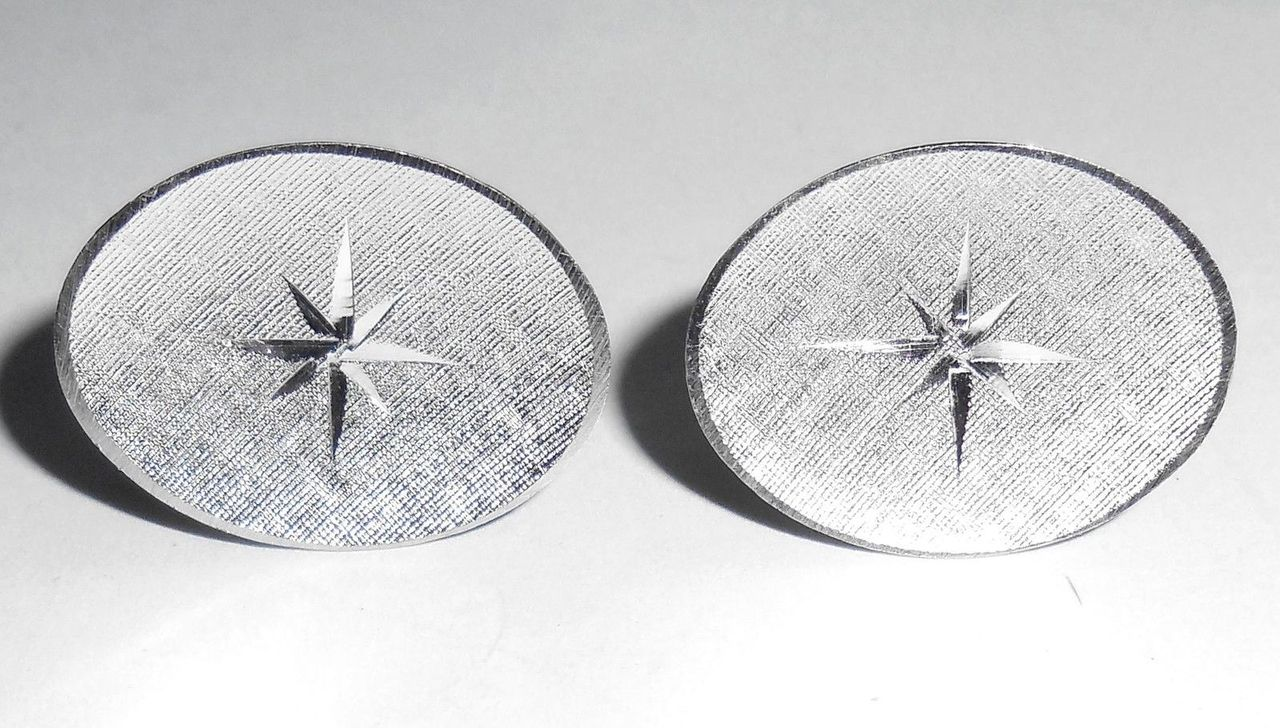 Vintage 1960s Sterling Silver Mens Starburst Swivel Cufflinks Florentined Finish