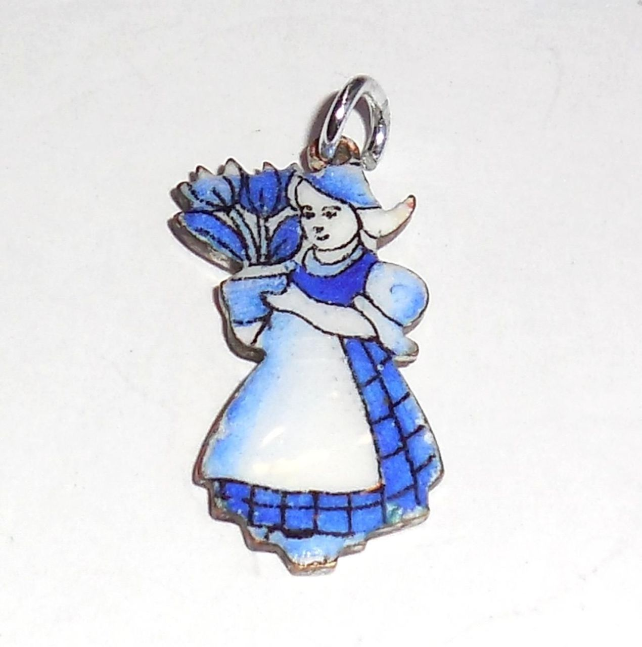 Small Vintage Hand Painted Enameled Netherlands Dutch Girl Pendant Charm
