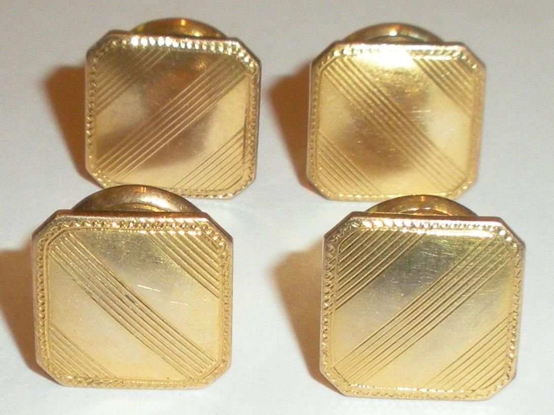 Antique Art Deco Kum A Part Snap Mens Cufflinks Gold Tops And Backs