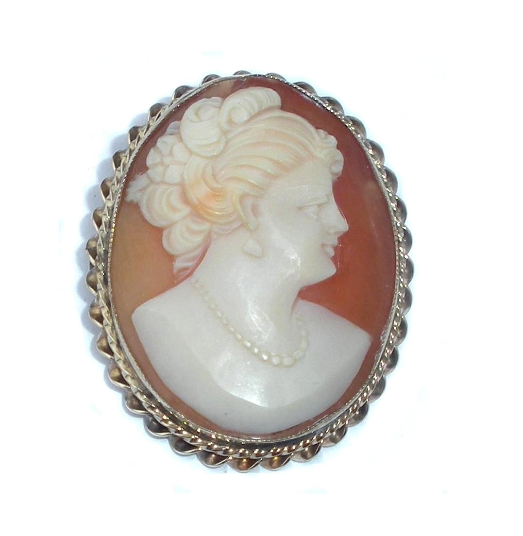 Art Deco 1/20th 12k Gold Filled Carved Shell Cameo Pendant And Pin Early Hinged Bail