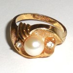 Vintage Chunky Mkd Gold Filled Cultured Pearl Ring Size 8