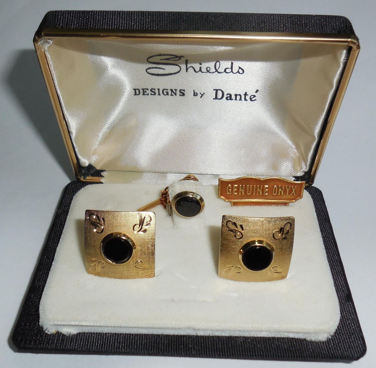 Vintage Dante Gold Tone Onyx Mens Swivel Cufflinks And Tie Tac Set In Box