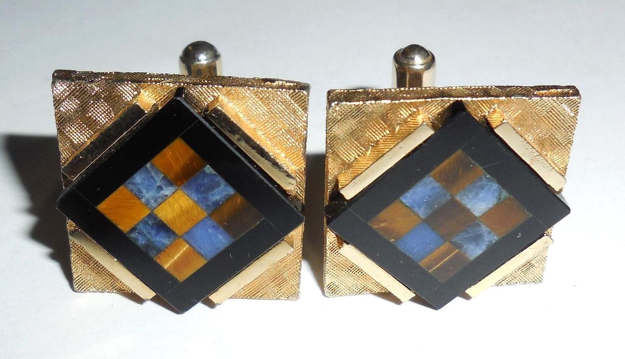 Vintage Gemstone Mosaic Handmade Mens Swivel Cufflinks Large Tiger Eye Sodalite Onyx