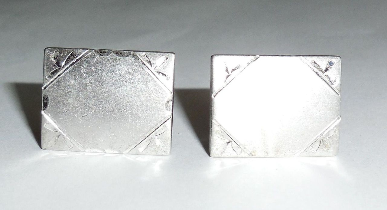 Vintage Sterling Silver Mens Swivel Cufflinks No Monogram Brushed Finish Mid Century