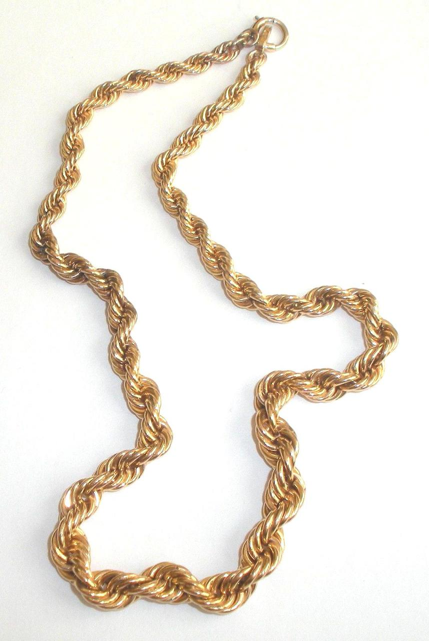 12k Gold Filled Vintage Graduated Rope Chain Necklace 33.4gr