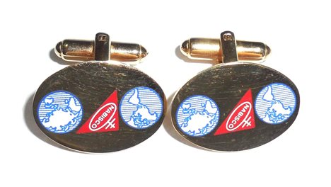 Vintage Advertising Nabisco Logo World Globe Enamel Mens Cufflinks Oreo Cookies