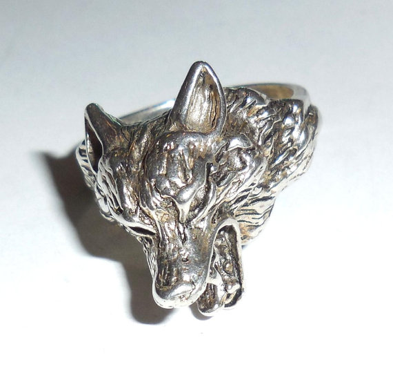 Vintage Silverplated Highly Detailed Lion Head Mens Ring Size 11.25
