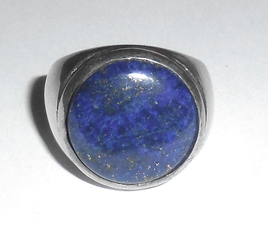 Asian Chinese 925 Sterling Silver 16m Blue Lapis Stone Mens Ring Size 7