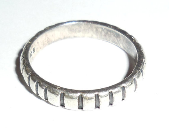 Vintage Mexican Sterling Silver Striated Ring Band Or Stacker Mens Womens Size 11