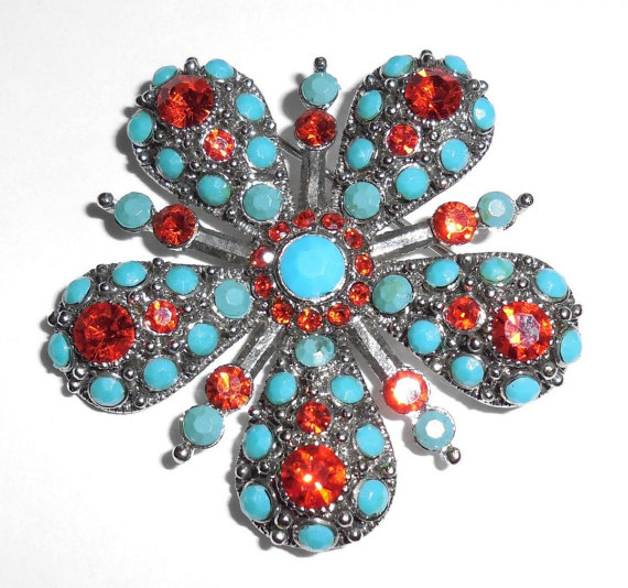 Vintage 1960s Mid Century Brilliant Red Rhinestone And Glass Turquoise Silver Pin