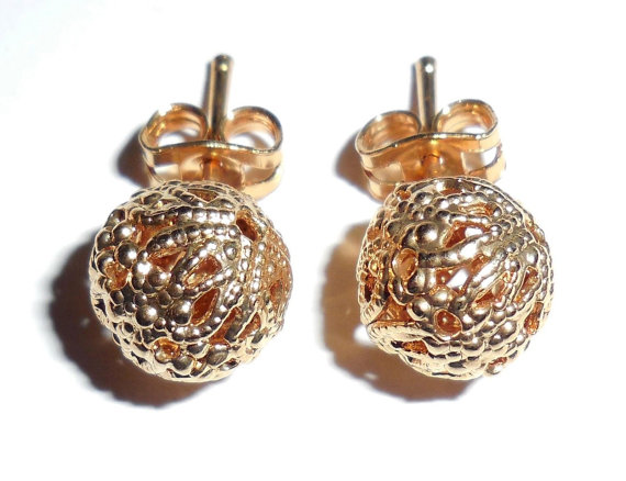 Vintage Gold Plated Fancy Filigree 9mm Ball Earrings Pierced Post Great Condition No Wear 1 Pair