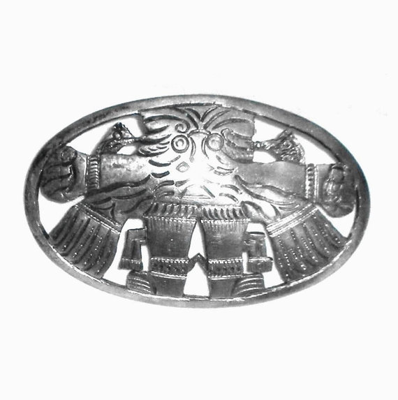 Heavy Peruvian 900 Silver Artist Signed Tribal Pin 32.9 Gr Latin South American