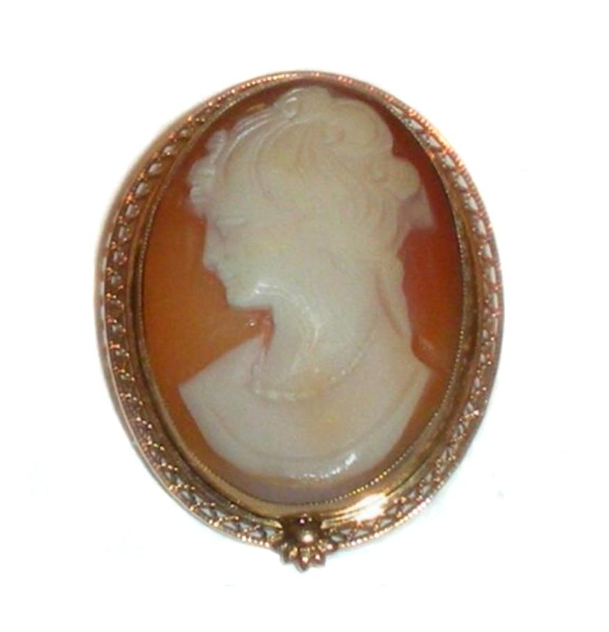 Art Deco Marked 12k Gold Filled Filigree Natural Carved Shell Cameo Pendant Pin
