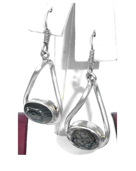 Contemporary Mexican Sterling Silver Chunky Abalone Shell Pierced Dangle Earrings