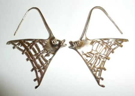 Large Hand Wrought Sterling Silver And Gold Overlay Fish Earrings Pierced Hook