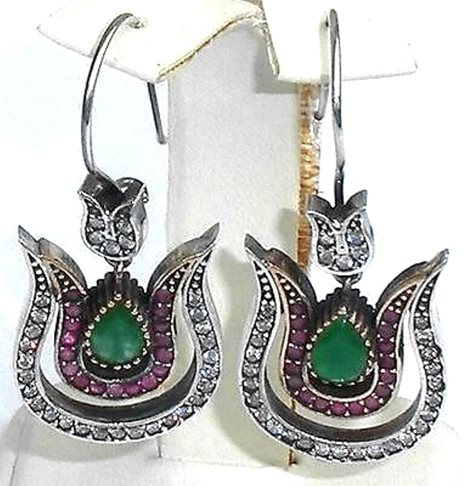 Stunning Modern Georgian Victorian Jeweled Sterling Silver Gold Wash Earrings