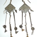 Handmade Susan Brooks Sterling Silver 22k Gold Egyptian Lady Shoulder Duster Earrings