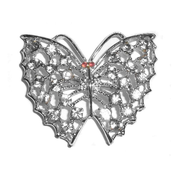 Large Rhinestone Butterfly Pin Crisp Clean No Wear Condition