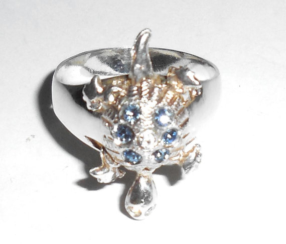 Sterling Silver Open Back Glass Crystals Movable Turtle Tortoise Ring Size 7.25 All Parts Moveable