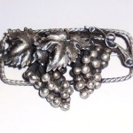 Antique Hallmarked Sterling Silver Art Nouveau Edwardian Aesthetic Grapes Pin