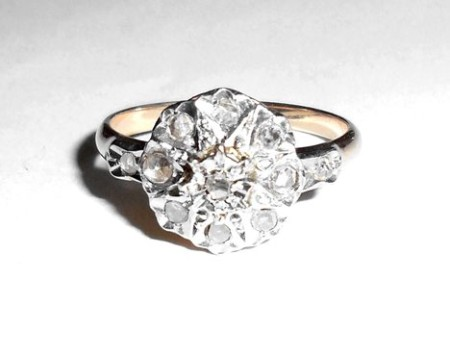 Antique Victorian 18k Gold And Platinum Rose Cut Diamond Ring Size 7