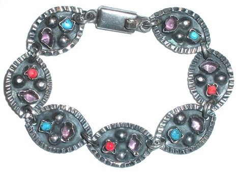 Taxco Vintage Mexican Sterling Silver Amethyst Coral Turquoise Gemstone Bracelet 7 3/8""