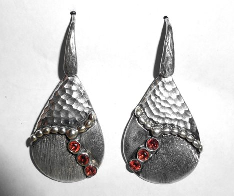 Italian Sterling Silver And Gold Hammered Modernist Bezel Set Garnet Earrings