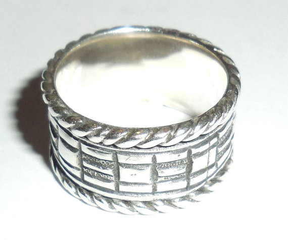 Vintage Sterling Silver Wide Cigar Band Spin Ring Mens Womens Spinner Size 8.75