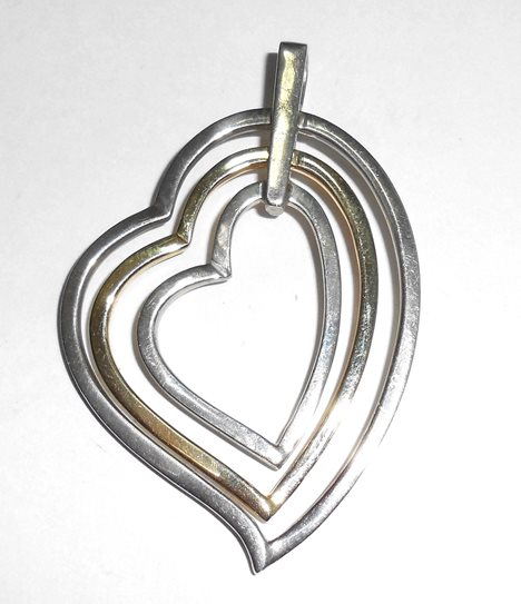 Large 18k Yellow Gold Heart Inside 2 Sterling Hearts Modernist Floating Pendant