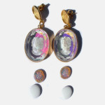 Retro 1970s Large Ab Crystal Intaglio Glass Cameo Dangle Earrings Choice Of Tops