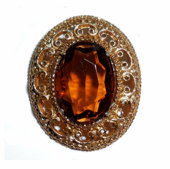Florenza Retro Vintage Faceted Glass Topaz Pin Great Condition No Wear