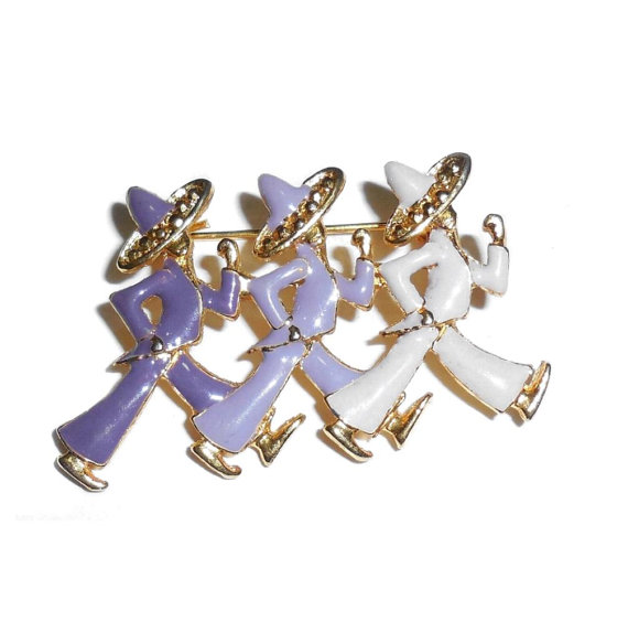 Gold Plated Enameled Group Of 3 Mexican Spanish Latino Musical Fiesta Men Pin