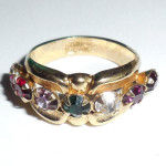 Vintage Heavy Gold Plated Mid Century Austrian Crystal Wide Ring Band Size 7