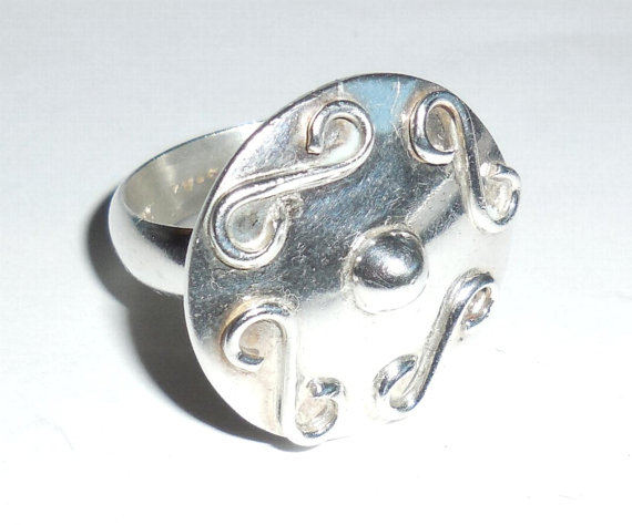Large Taxco Mexican Sterling Silver Vintage Modernist Scroll Squiggle Ring Mens Womens Size 9