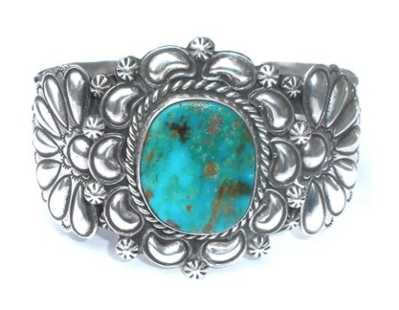 Native American Navajo Jane Mcrory Turquoise Sterling Silver Cuff Bracelet 67g