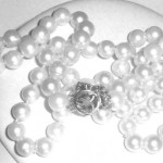 Vintage 14k White Gold Flower Clasp 22.5 Inch Cultured Pearls Necklace 6.5-7mm