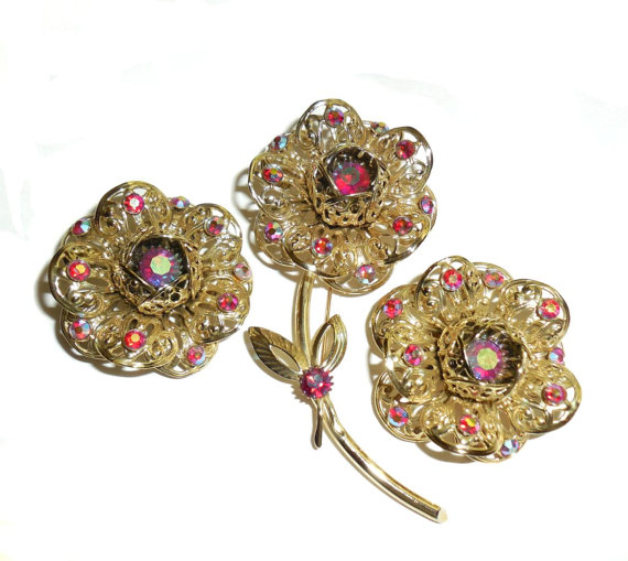 Never Used Vintage Sarah Cov Coventry Blooming Rose Pin Earrings Set Filigree Ab