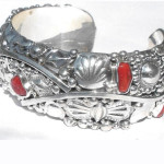 Very Fancy 61.3gr Native American Ef Sterling Silver Red Coral Navajo Open Cuff Bracelet Size 7 Medium
