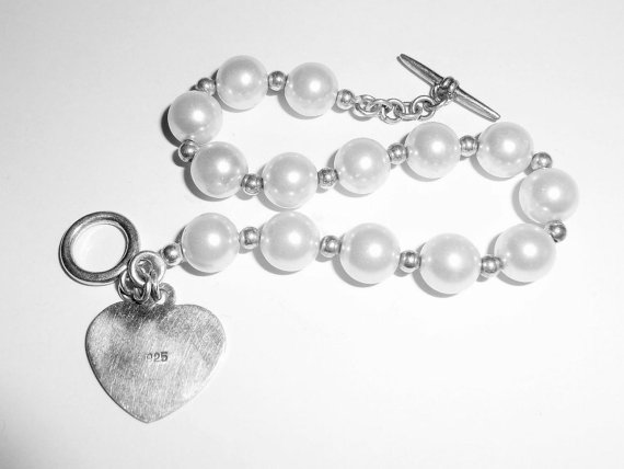 Vintage Sterling Silver 8mm Pearlized Glass Pearls Toggle Bracelet Size 7.5 7 1/2
