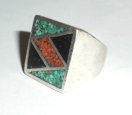 Vintage Sterling Silver Turquoise Coral Onyx Mosaic Mens Ring Size 8.75