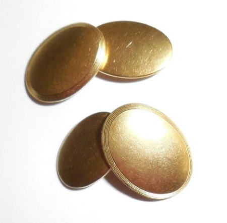 Antique Early Art Deco Gold Gilt Mens Chainlink Cufflinks Never Monogrammed Exc
