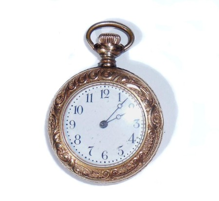 Antique Fancy Gold Filled Ladies Pocket Watch For Case Or Repair