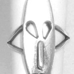 Vintage 1970s Late Mid Century Mexican Sterling Silver Long Face Ring Size 8