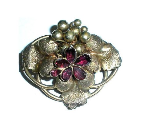 Antique Victorian Gold Gilt Aesthetic Cluster Of Grapes Czech Glass Garnet Pin 1.5""