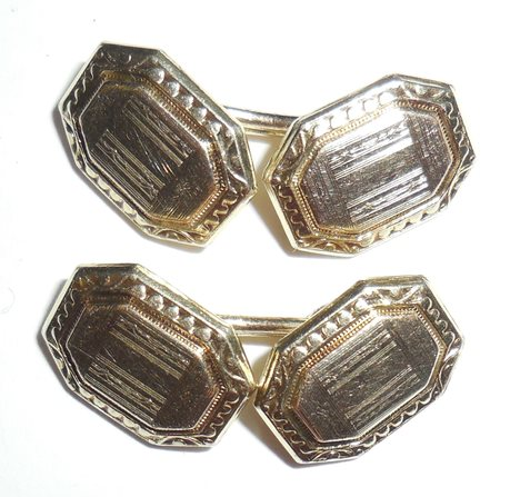 Vintage Fancy Art Deco Chainlink Mens Cufflinks Never Monogrammed Exc Cond