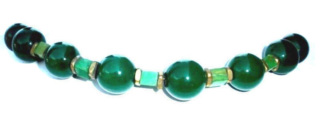 Vintage 1930s Art Deco Green Czech Glass And Marbled Bakelite Necklace