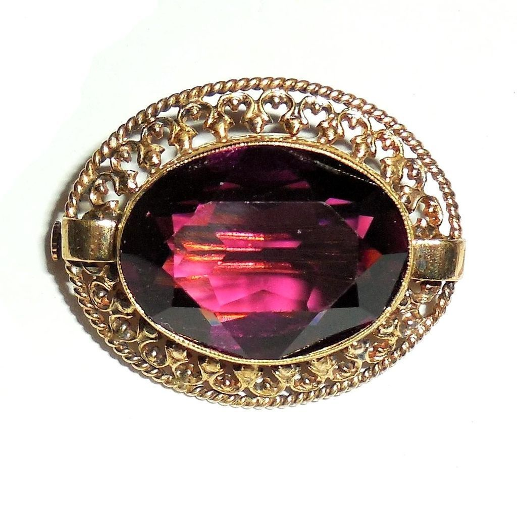 Edwardian Antique To 1920 Early Art Deco Fancy Gold Gilt Czech Glass Amethyst Pin