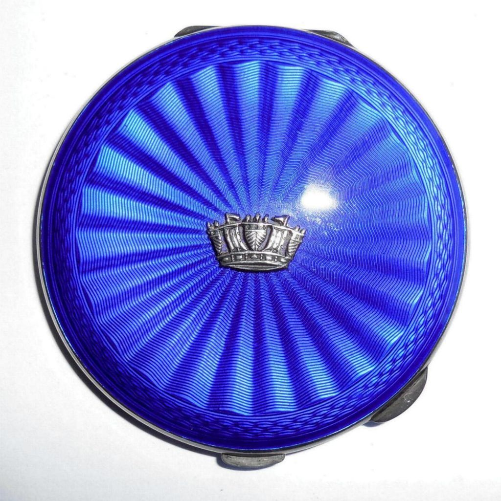 Vintage Birmingham British English Sterling Silver Cobalt Blue Enameled Compact Ladies