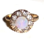 Antique Art Nouveau To Art Deco Clark & Coombs 1/30th 14k Rgp Faux Opal Ring